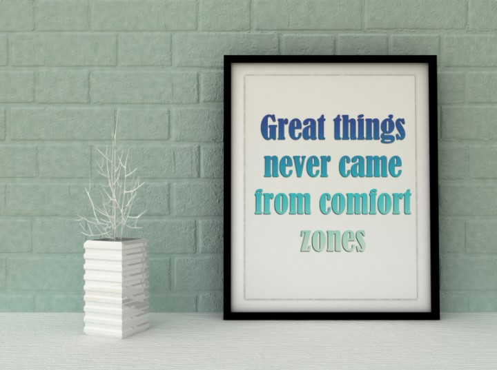 An earth tone brick wall with a framed sign that reads Great things never came from comfort zones.